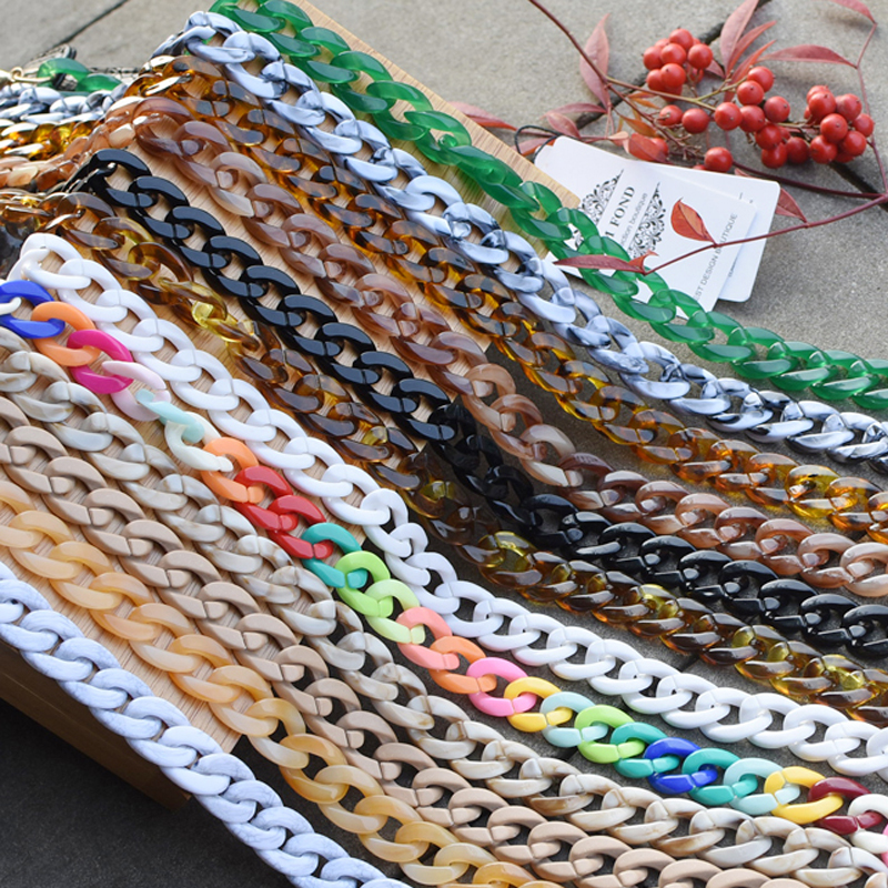 Black or Silver or gold buckle Chic Lady Resin Uneasy Broken Handbag Strap Many Lengths Choices Girls Fashion Bag Accessasory(China)