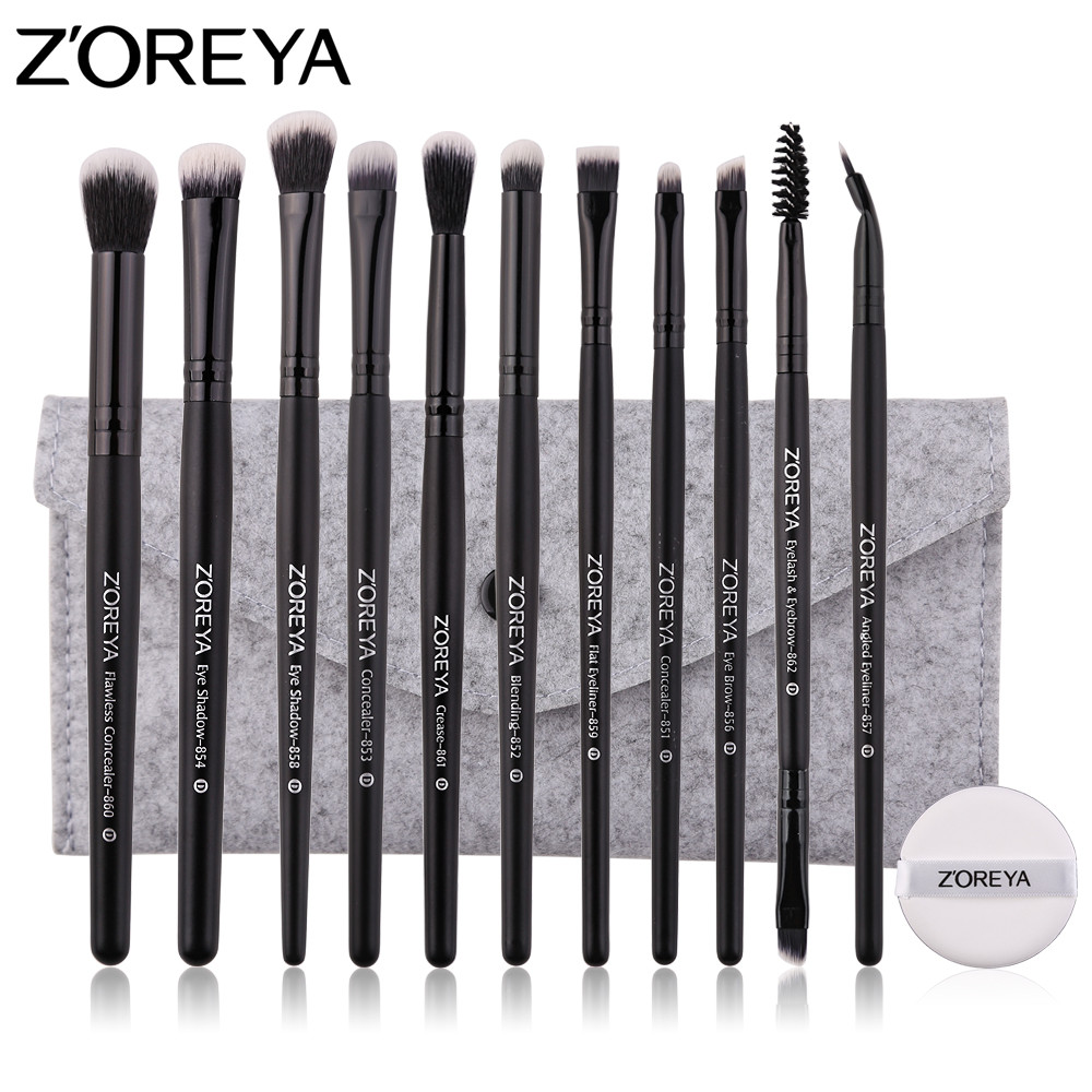 ZOREYA Makeup Brushes 11pcs Professional Eye Make Up Brushes Eyeshadow Blending Creasing Eyebrow Brush Set With Bag and Puff 24pcs professional makeup natural wooden handle brushes set foundation blending brush tool make up brushes with bag sponge puff
