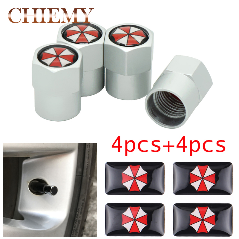 8pcs/lot Car styling Aluminum alloy Umbrella corporation Car Wheel Tire Valves Tyre Air Caps Case Resident Evil Car stickers racing middle size resident evil decals bumper stickers for car