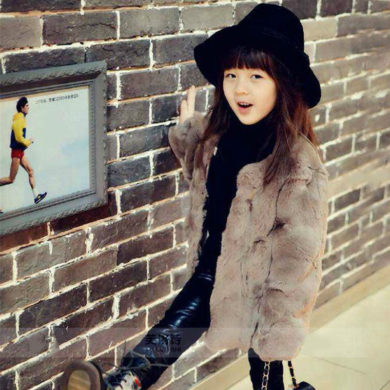 Top quality Princess coat Girls Fall and Winter Coat Kids Really 100% Rabbit Fur Grass Coat,Child Thick Plush Fur Coat ein fall fur tessa
