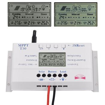 Solar Panel Regulator LCD 30A 12V/24V MPPT Charge Controller &USB Three timer A391 APJ