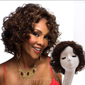 2017 New Fashion 1PC Kinky Curly Afro Wig Short Wigs Synthetic For African American Black Women Highlighted U Part Wig Free Net