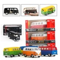 Boxed five-inch alloy car model Volkswagen T1 bus Matte matte Open the door back to power kids toys