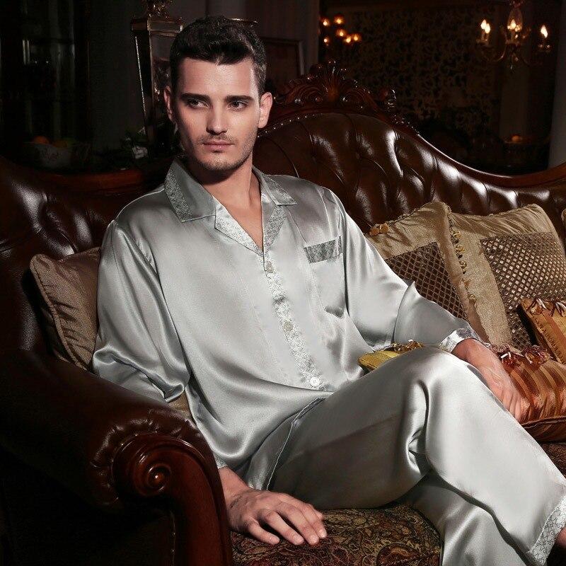 100% Silk Pajamas Two-Piece Men Pyjama Sets Pure Silk Pajama Sleepwear Male Tops+Pants Satin Silk Pijama Homewear Sets