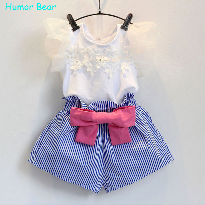 Humor Bear Summer Style Kids Clothes Fashion T-shirt+Skirt  Baby Suits Children Clothing Set Baby Girls Clothes family fashion summer tops 2015 clothers short sleeve t shirt stripe navy style shirt clothes for mother dad and children