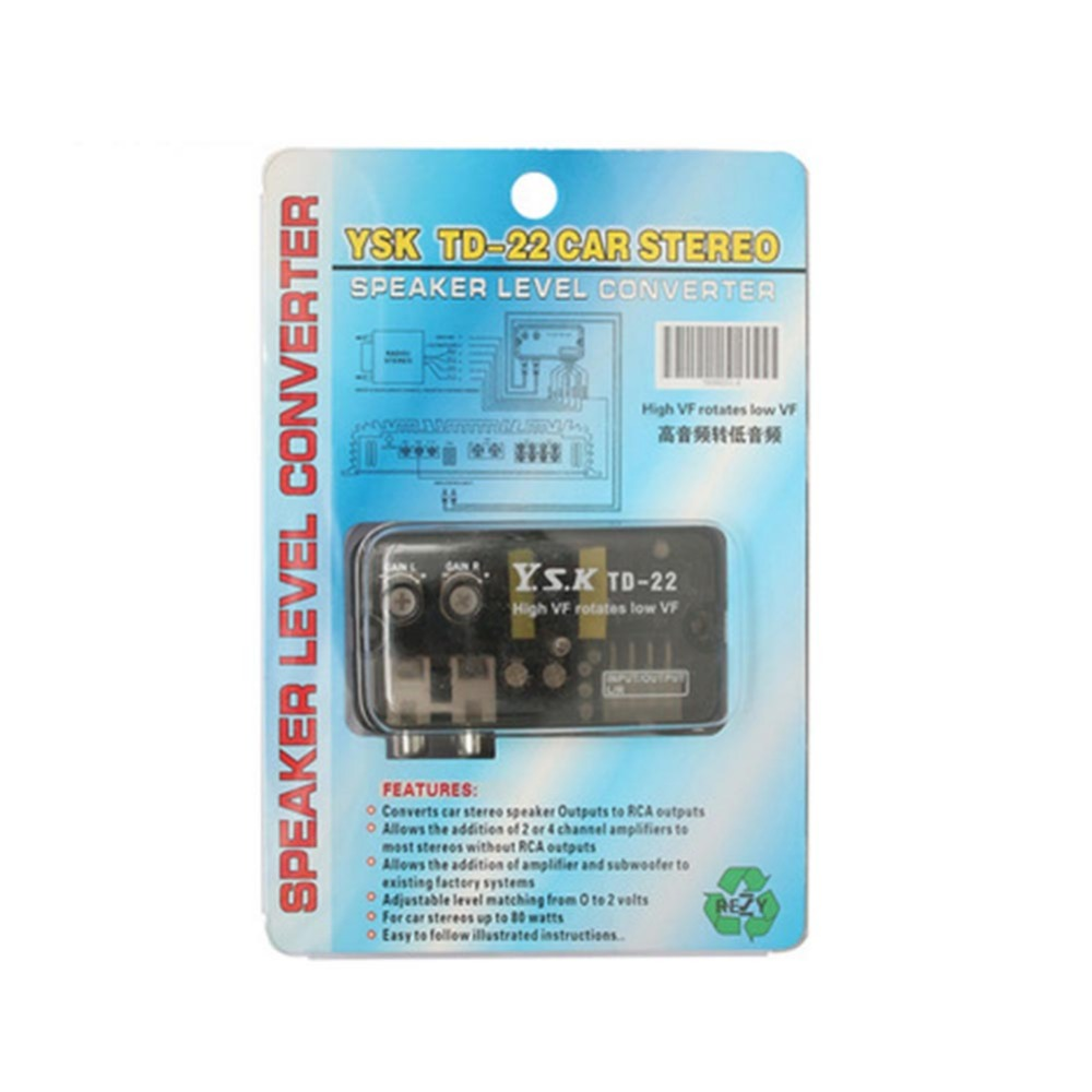 12V TD 22 Auto Car Audio Converter RCA Stereo High to Low Frequency ...