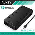 Negro Aukey cargador de Pared, 70 W UE/EE.UU. Plug 10 Puertos USB cargador de Pared con aipower y qc 3.0 para iphone 7 plus android con conexión de cable