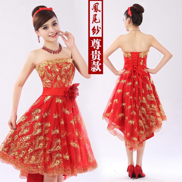 Após curto antes do tempo Pteris bordados de ouro Bandage vestido de dama de honra elegante renda Formal vestido de festa