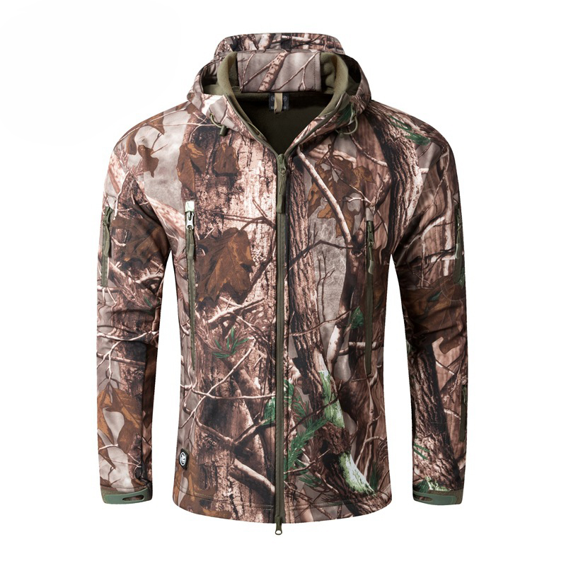 Men's Tactical Outdoor Hunting Jacket Waterproof Softshell Fleece Camouflage Jackets(China)