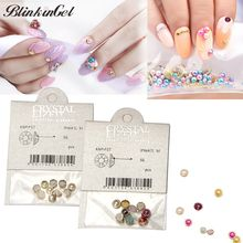 BlinkinGel Mini Perles of Resin Nail Art Pearl Decorations in Candy Colors Milk Perlas AB Pearl Flatback packed in PP Bags(China)