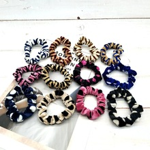 12 Pcs/ Soft Chiffon Velvet Satin Hair Scrunchie Floral Grip Loop Holder Stretchy Band Leopard Accessories for Women