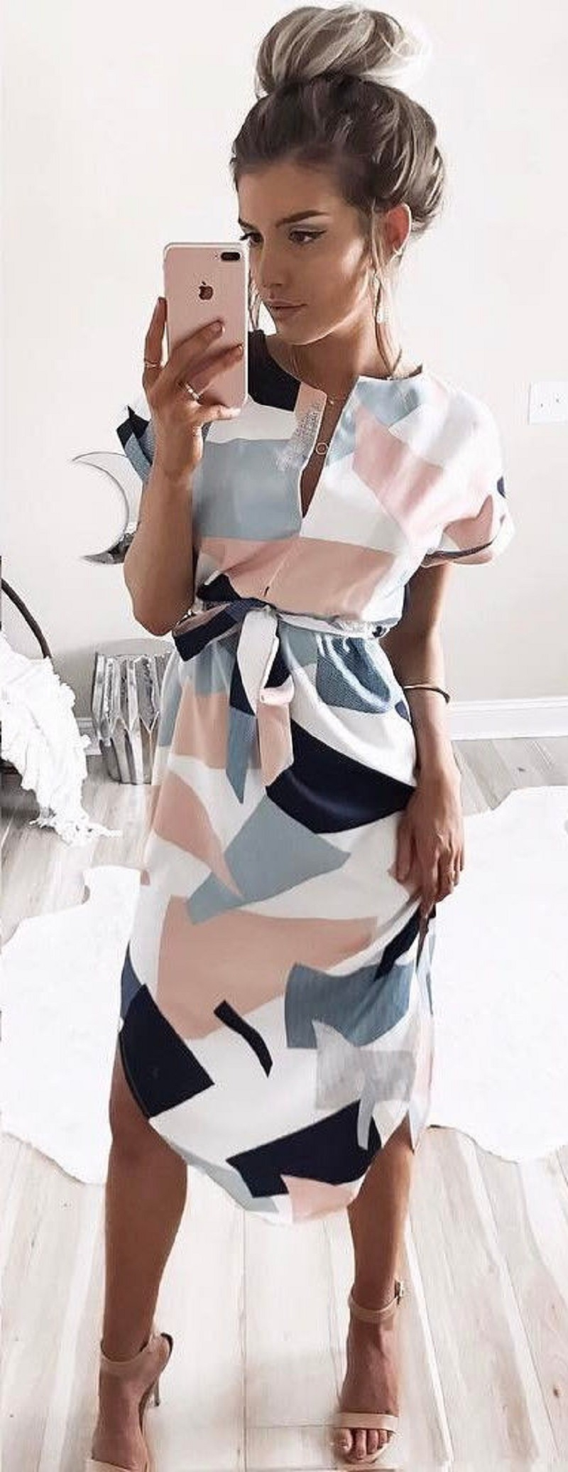 10pcs/lot Selegere Summer Dress Women Fashion Print Elegant Cute Sashes O-neck Sexy Slim Sheath Dress Women Dresses Vestidos 7