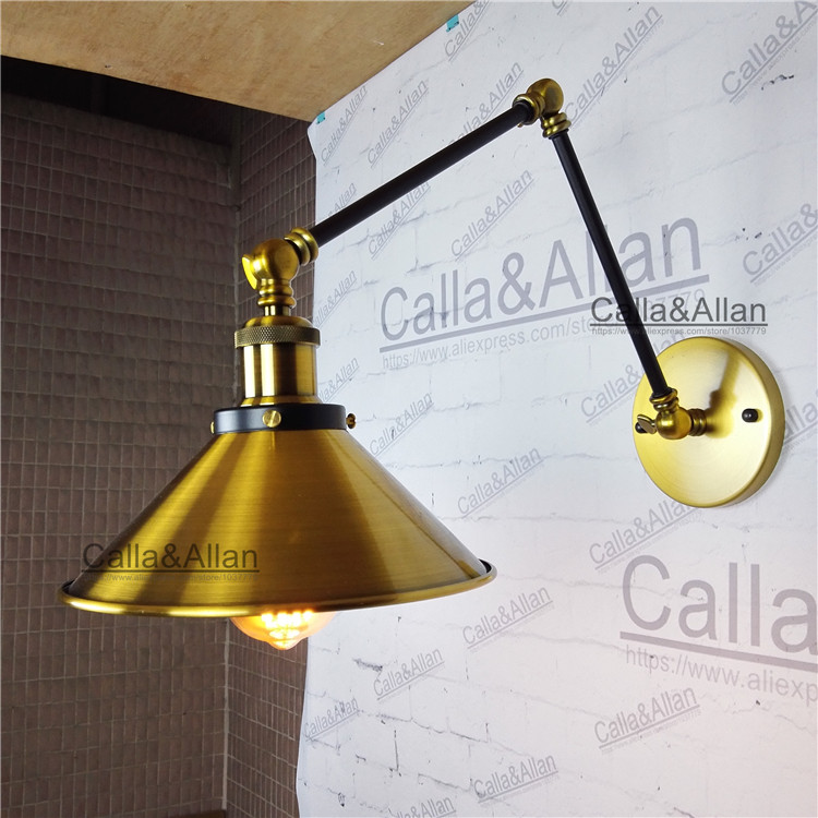 American Style Retro Industrial Creative Wall Lamp Antique brass Iron Study Bedroom Lighting 2 Swing Arms 40W Light Bulb sconce