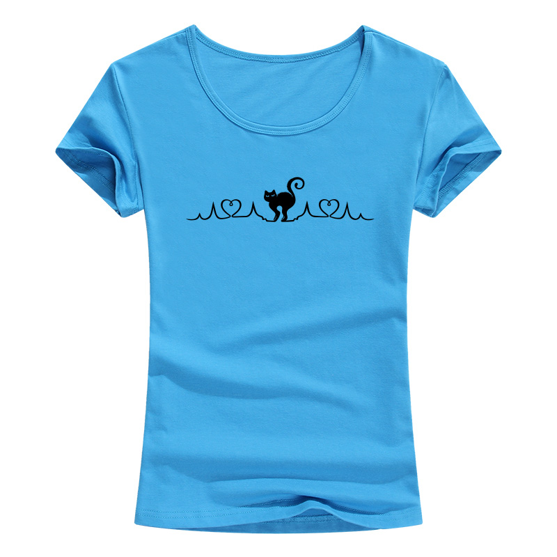 Women Girl Heartbeat Of CatT Shirts Summer Style Short Sleeve Cotton Cute Pet Woman T shirts Female Tee Tops in T Shirts from Women 39 s Clothing