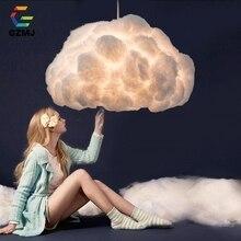 GZMJ lampe suspendue en soie suspendue en forme de nuage, design nordique, luminaire décoratif de personnalité, idéal pour un hôtel, un hall ou un Restaurant