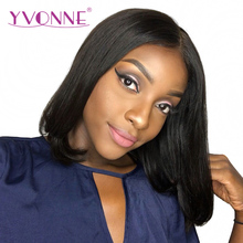 YVONNE Short Lace Front Human Hair BOB Wigs Brazilian Virgin Hair 180% Density Natural Color Free Shipping