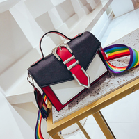 2018 Women Small Panelled Messenger Bag For Girls Rainbow Leather Shoulder Bags Female Sac A Main