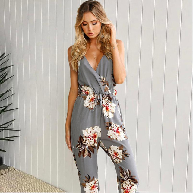 67e2ab220bf1 Summer Bohemian Floral Jumpsuits Women s Sexy Strapless Backless Casual  Long Jumpsuit Ladies Elegant Romper Playsuit Trouser  Z