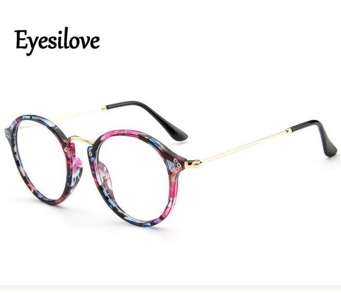 Eyesilove retro women myopia glasses customized vintage lady myopia eyeglasses round frame prescription glasses -0.50 to -6.00
