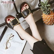 ALL YIXIE 2019 Women Slippers Fashion Metal Buttons Flip Flops Summer Flat Slides Outside Ladies Shoes New Swomen Sandals