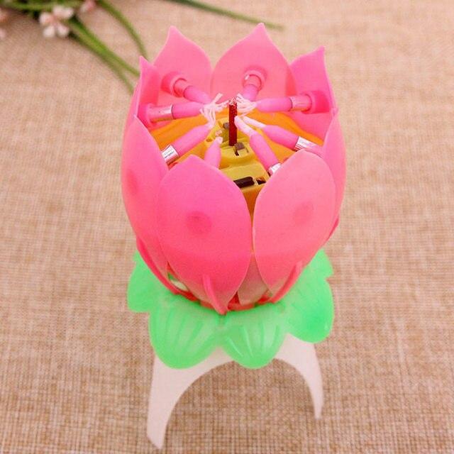 Children Happy Birthday Party Music Candle Romantic Lotus Flower