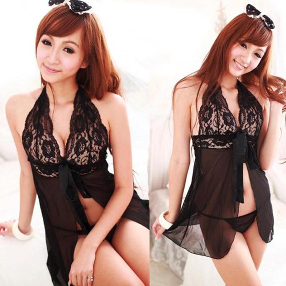 Femmes dentelle sexy-lingerie sous-vêtements G-String babydoll Bra X3