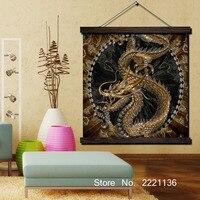 Oro Drago Cinese di Stampa di Scorrimento Dipinti Wall Art Stampato Appeso Cornice della Tela di canapa Pittura Moderna Decorazione Della Casa