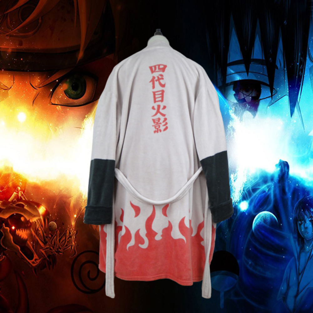 Anime Naruto Thermal Flannel Bathrobe Akatsuki Cosplay Costume Robe Sasuke Itachi Cloak Winter Thick Dressing Gown B82001