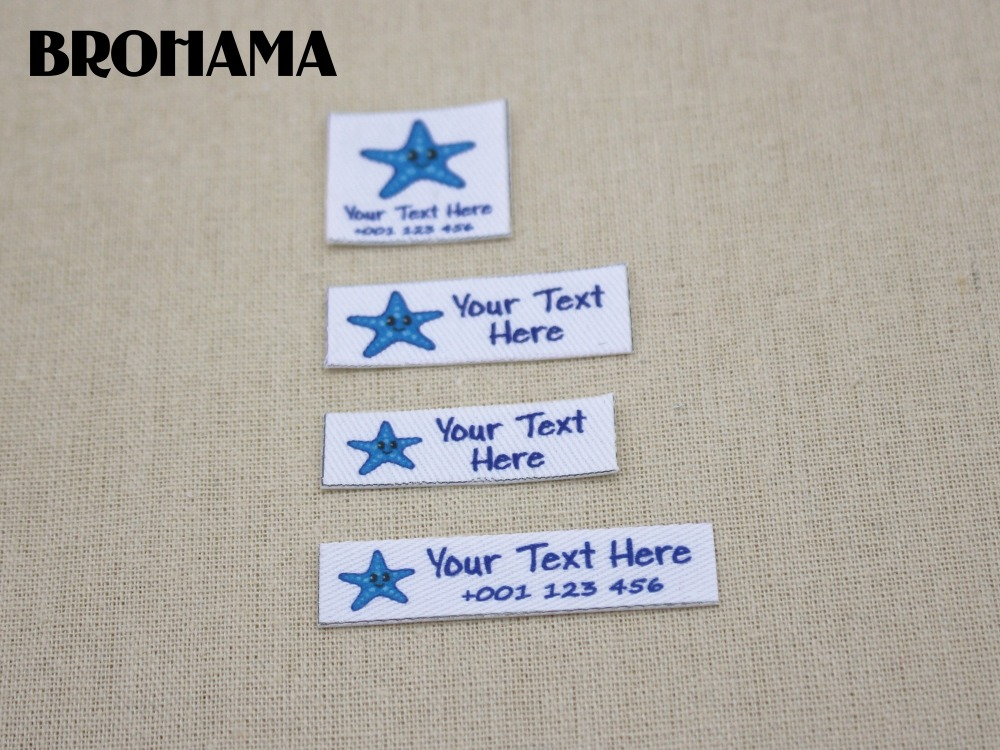 Custom name label, childrens clothing label, ironing label, boy and girl tag, Customize color, Blue starfish (L08)