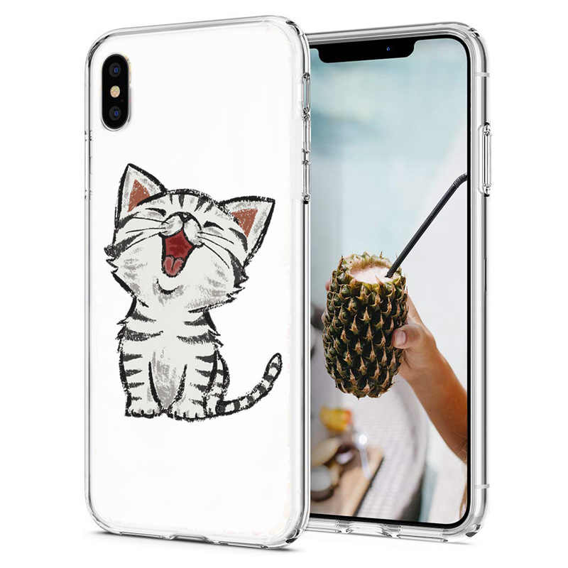 Doux Téléphone étui pour iphone X XS XR Housse TPU Coloré Mignon Chat Chien Ours Motif Coque Fundas Pour iPhone6 7 8 XS Max E053