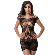 d7a8dd8dc Black Elastic Lace Bady Doll Sexy Lingerie Women plus size Transparent  Hollow-out Backless Lingerie