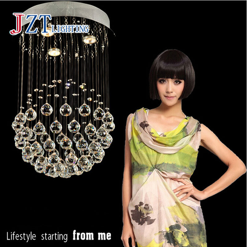 Z Modern Creative Round Ball Crystal Chandelier LED Ceiling Lamp With 3 Bulbs D40 X H80CM For Bedroom Livingroom And Restaurant