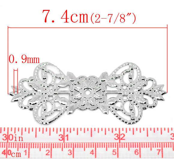 10 Pcs Tom Silver Crown Conectores 74x31mm Forma de Borboleta Wraps Flor Acessórios Para o Cabelo DIY Jóias De Metal Decorativo achados