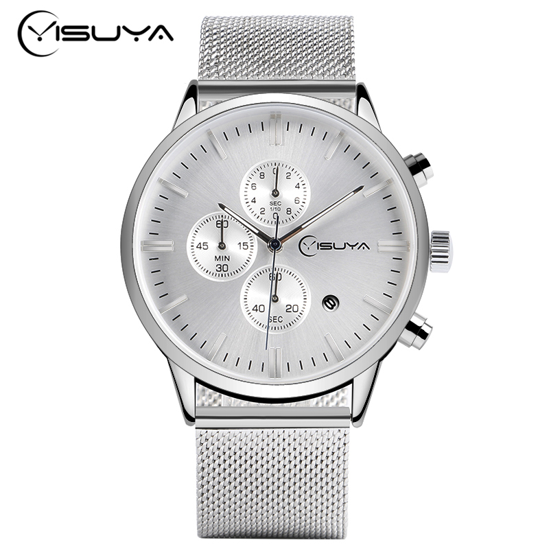 YISUYA Luxury Business Watch Mens Stainless Steel Auto Date Chronograph 6 Hands Casual Wristwatches Male Clock montre Homme jedir chronograph auto date mens watches top brand luxury silver stainless steel wristwatches men male quartz watch 2018