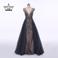 Sexy Deep V-neck Backless Long Evening Dresses 2017 New Design Crystal Beaded Sleeveless Prom Dress Party Gown Robe De Soiree