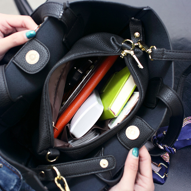 Litchi Pattern Leather Women Casual Handbag 4