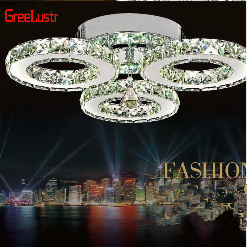 Lustre moderne en cristal chromé, éclairage De plafond suspendu avec Led De 30W pour la cuisine Plafon lampara De Techo Luminaire