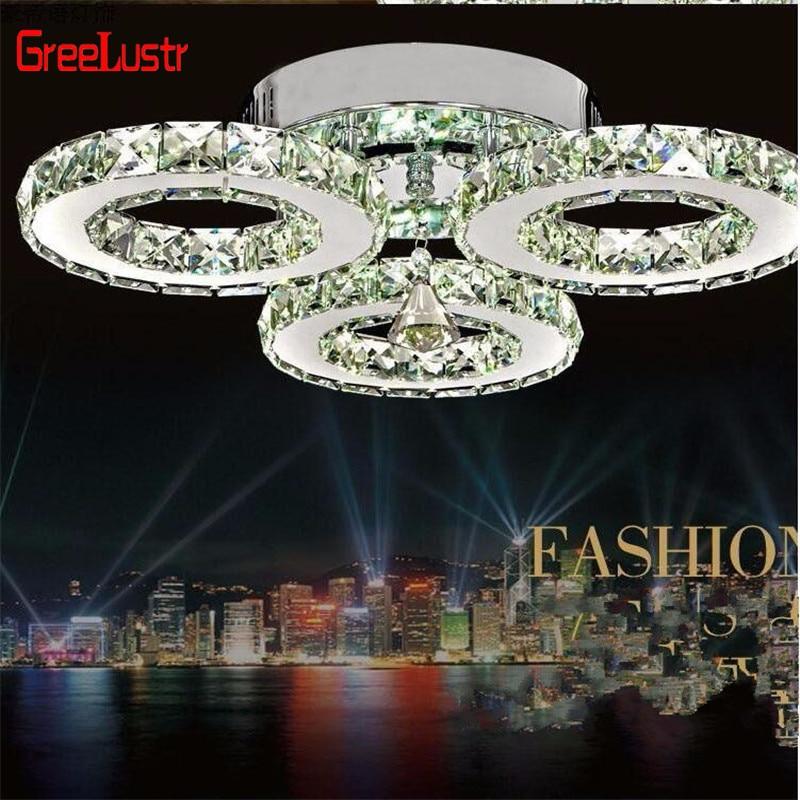 Modern Lustre Chrome Crystal Chandeliers Lighting 30W Led Hanging Ceiling Lamp For Kitchen  Plafon Lamparas De Techo Luminaire