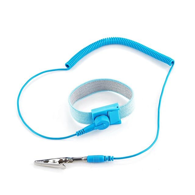 Componentes de correa de muñeca antiestática con Cables de descarga extraíbles para herramientas de electricista azul