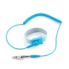 ESD antistatik anti statik bileklik bilek kayışı bileşenleri çıkarılabilir kablo ile deşarj kabloları elektrikçi araçları için mavi