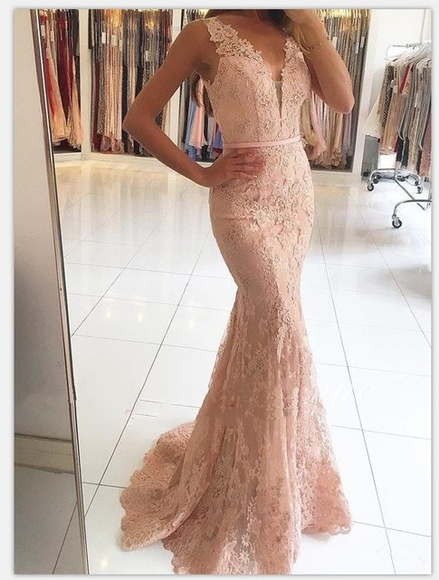 Pink 2019   Prom     Dresses   Mermaid Deep V-neck Appliques Lace Women Party Maxys Long   Prom   Gown Evening   Dresses   Robe De Soiree