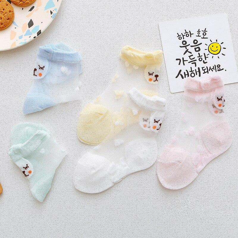 1 Paar Frühling Sommer Baby Mädchen Ultra-dünne Bär Unsichtbare Kurze Socken 2019 Neue Mädchen Cartoon Candy Farbe Kristall Socken 2-4y