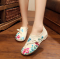 Chinese Women Embroidery flats National flower embroidered shoes old Beijing cloth soft dance casual walking shoes size 34-41