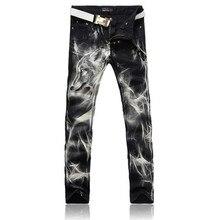 2016 High Quality Mens Straight Jeans Fashion Slim Wolf Printing Denim Pants P5087