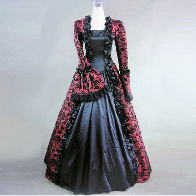 18th Century Classic Long Sleeve Gothic Victorian Period Dress Red Print Pattern European Court Masquerade Ball Gowns Costume