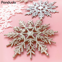 6Pcs/Set Sparkly Glitter Snowflake Christmas Ornaments Xmas Tree Hanger Garland Making Decorations