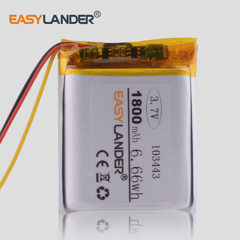 3 line <font><b>3.7V</b></font> lithium polymer <font><b>battery</b></font> 103443 <font><b>1800MAH</b></font> for Game Machine MP3 Player GPS navigator Drift Stealth 2 action camera image