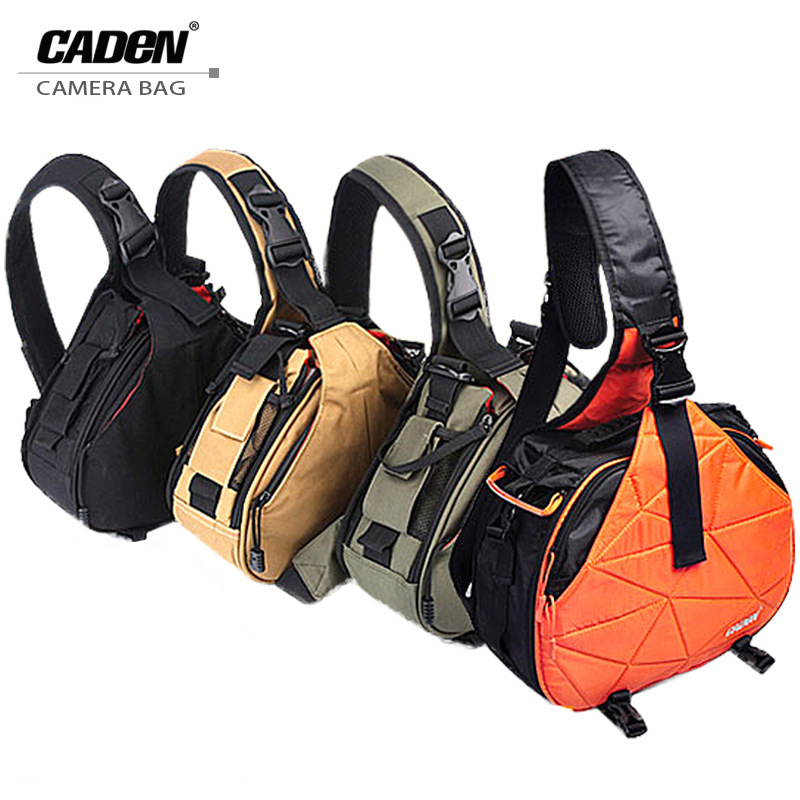Caden Waterproof Travel Small DSLR Shoulder Camera Bag with Rain Cover Triangle Sling Bag for Sony Nikon Canon Digital Camera K1 lowepro protactic 450 aw backpack rain professional slr for two cameras bag shoulder camera bag dslr 15 inch laptop