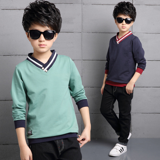 2017 Casual Style Kid Cotton Spring T-shirt For Boy Stripe V-neck Solid Baby Boy Clothes Children Autumn Long Sleeve Top Tees
