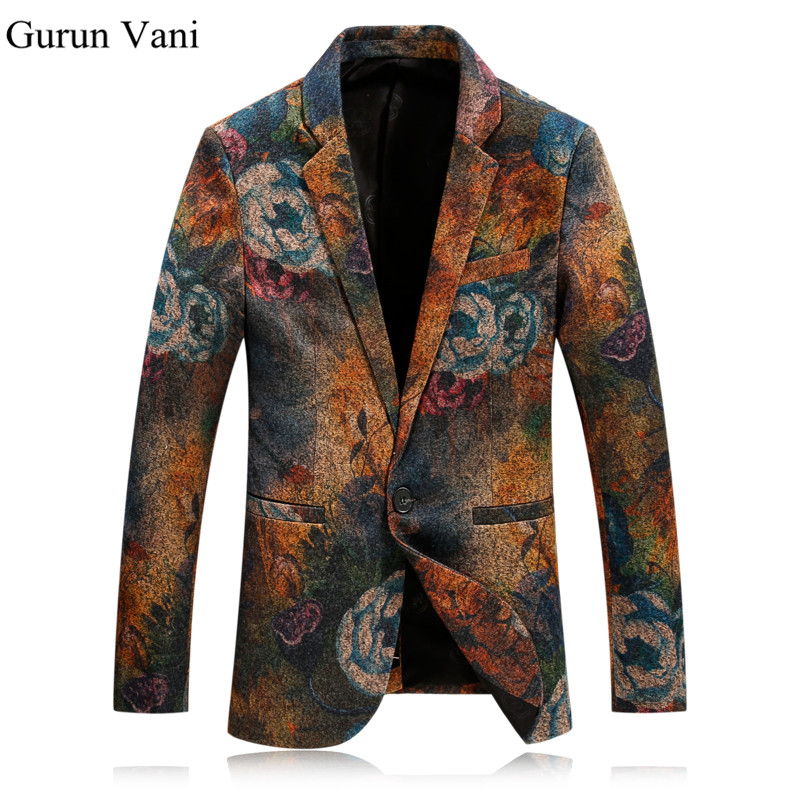 Men Floral Blazer Casual Slim Blazers Fashion Party Single Breasted Men Suit Jacket Masculino Wedding Dress For Male